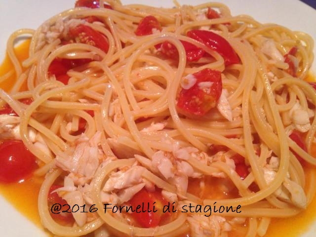 spaghetti spigola e pomodorini